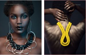 Margarett Ritter Designs necklace and earrings, Kate Mensah necklace